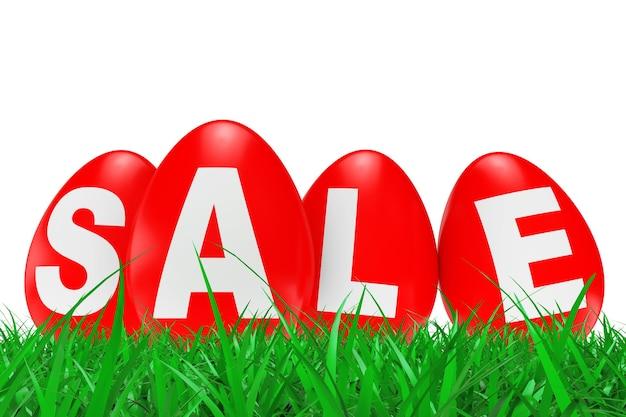 Oeufs de pâques rouges avec signe de vente dans l'herbe verte sur fond blanc. rendu 3d.