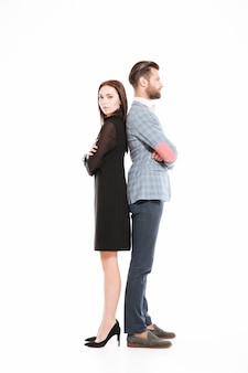 Offensé, aimer, couple, debout, isolé