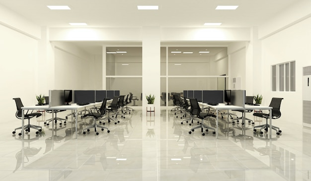 Office business - belle grande salle bureau et table de conférence, style moderne. 3d re