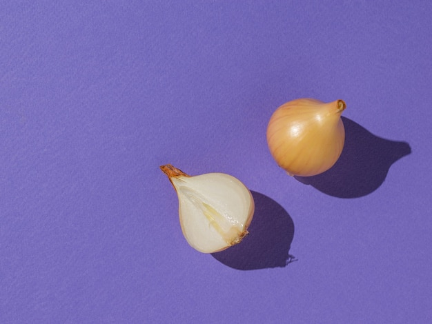 Un oignon coupé et un oignon entier sur fond violet. récolte d'automne. mise à plat.