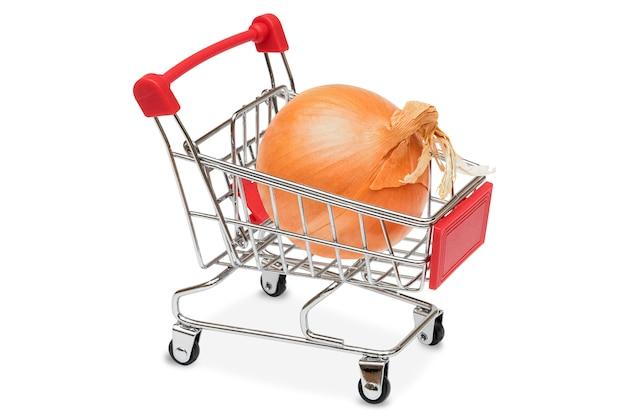 Oignon dans le chariot de supermarché