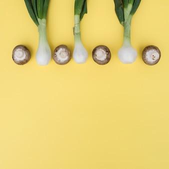 Oignons verts et champignons en composition