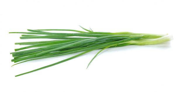 Oignons verts isolés sur blanc.