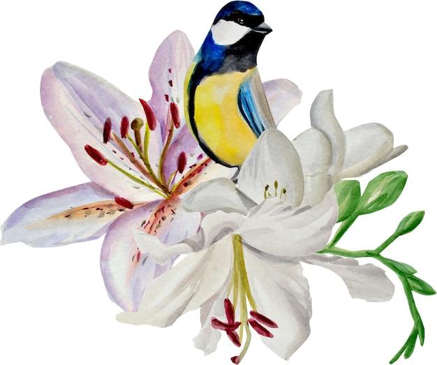 L'oiseau est assis dans les lis. illustration aquarelle