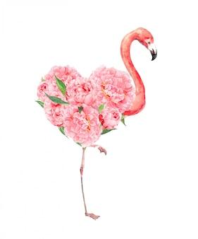 Oiseau flamant rose avec coeur floral et fleurs de pivoines.