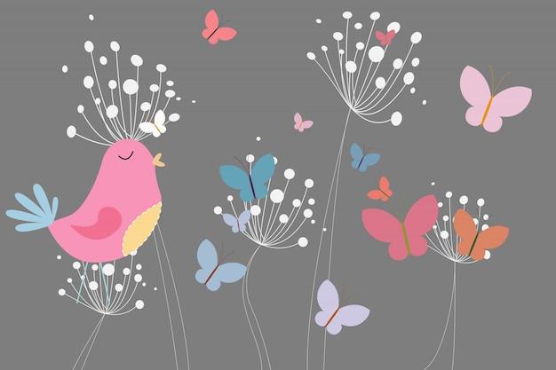 Oiseau rose avec coeur et pissenlits