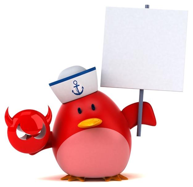 Oiseau rouge - illustration 3d