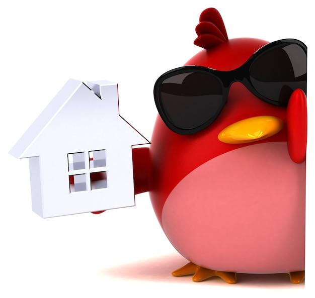 Oiseau rouge - personnage 3d