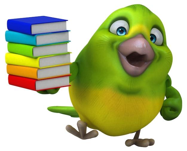 Oiseau vert amusant - illustration 3d