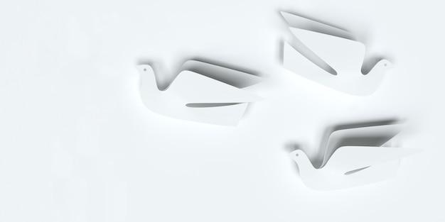 Oiseaux de papier sur une illustration 3d de fond blanc