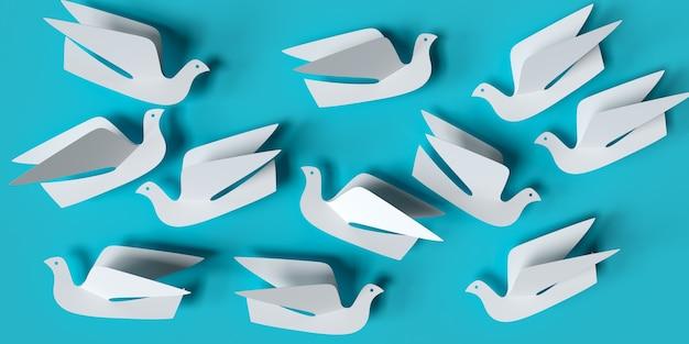 Oiseaux de papier sur une illustration 3d de fond bleu