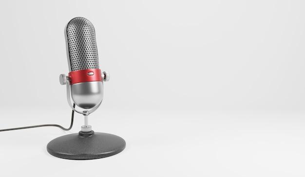 Old fashion rétro argent et chrome couleur rouge avec microphone design bouton isolé sur fond blanc