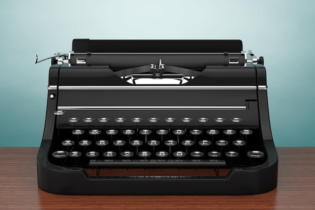 Old vintage retro machine à écrire sur une table en bois. rendu 3d.