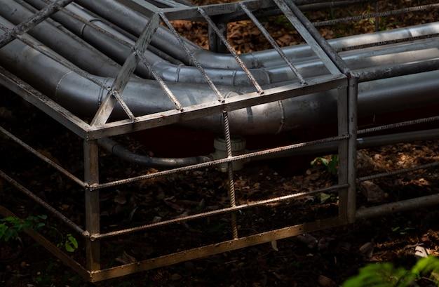 Oléoduc sur le sol de la forêt