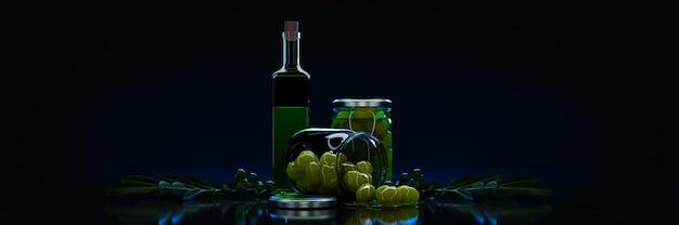 Olives avec des feuilles sur un rendu 3d de fond noir