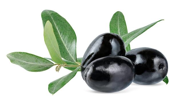 Olives noires avec branche verte isolée sur fond blanc avec un tracé de détourage.