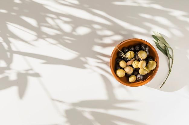 Olives noires et vertes dans un bol avec une brindille sur fond blanc