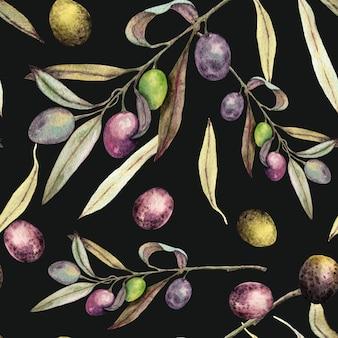 Olives peintes à l'aquarelle avec motif sans soudure de feuilles