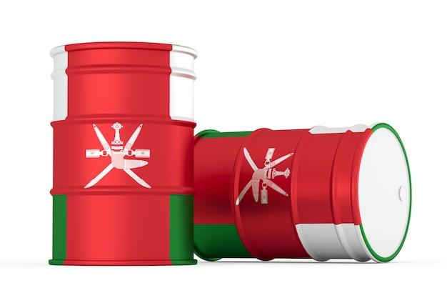 Oman barils de drapeau de style huile isolés