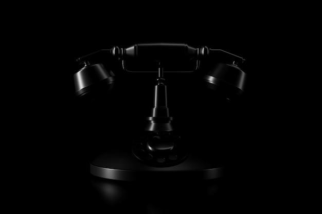 Ombre et lumière d'un téléphone vintage dans l'obscurité