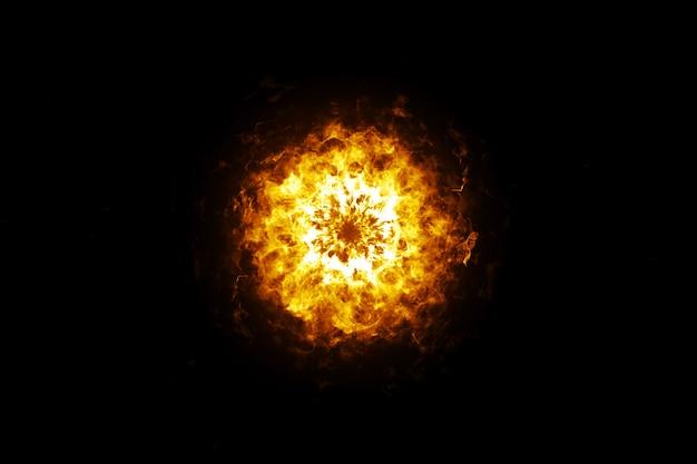 Onde de choc explosive sur une illustration 3d de fond isolé noir