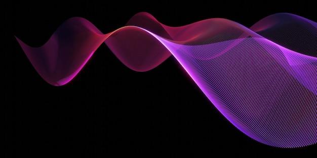 Ondes numériques avec fond de technologie de particules fluides big data illustration 3d