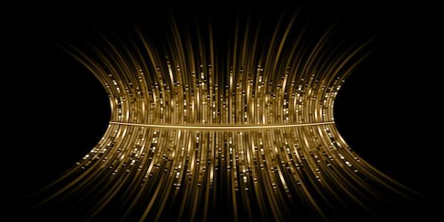 Ondes sonores dorées incurvées equalizer lumière dorée stries spectre de fréquence musicale illustration 3d