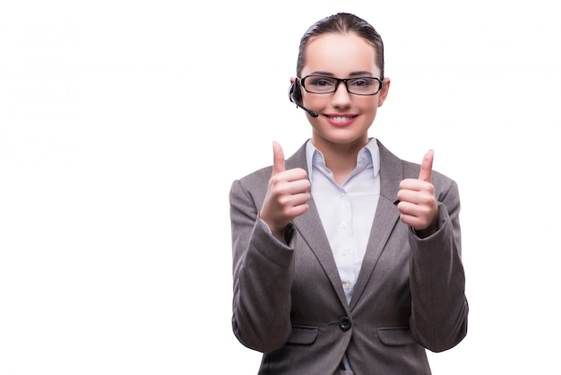 Opérateur de centre d'appel au concept d'entreprise isolé sur blanc