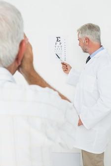 Ophtalmologiste pédiatre avec un patient senior pointant au tableau de l'oeil