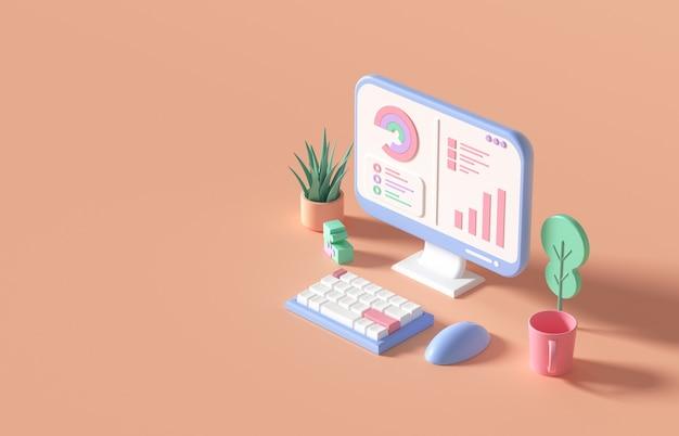 Optimisation du référencement 3d, analyse web et cncept de marketing seo. illustration de rendu 3d