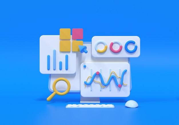Optimisation du référencement 3d, analyse web et concept de marketing de référencement. illustration de rendu 3d