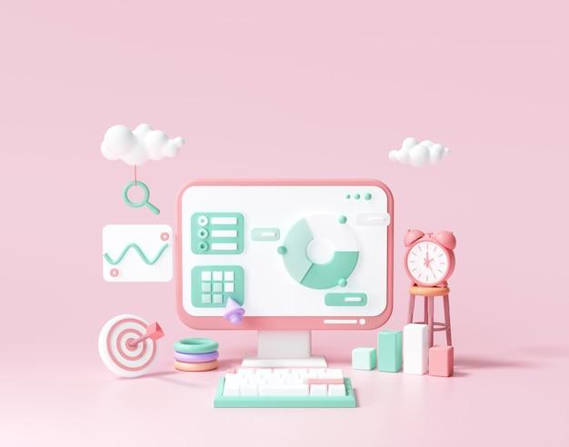 Optimisation du référencement 3d, analyse web et concept de marketing seo. illustration de rendu 3d