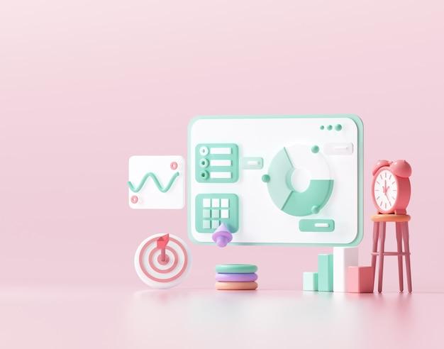 Optimisation du référencement 3d, analyse web et concept de médias sociaux de marketing seo. illustration de rendu 3d