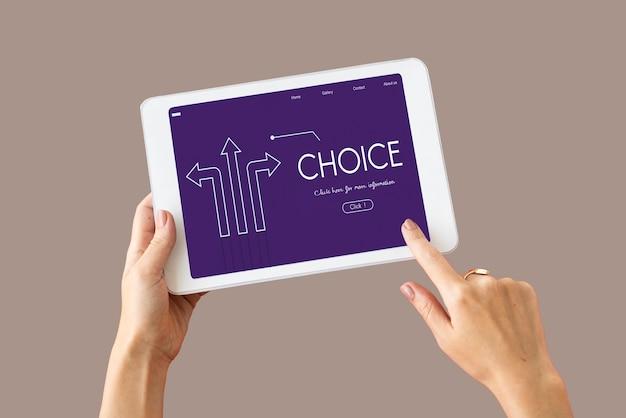 Options choix changements flèches graphique