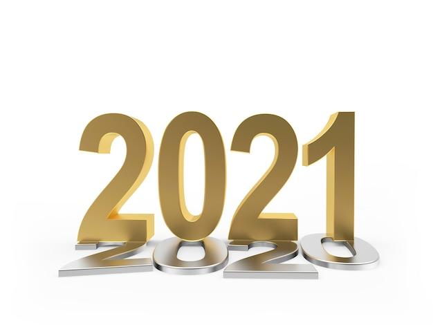 L'or 2021 se dresse sur les nombres d'argent 2020 isolés