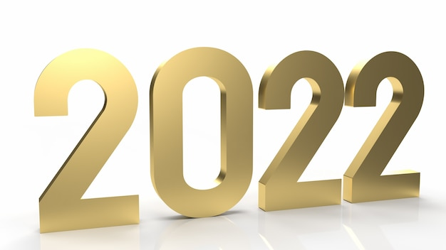 L'or 2022 sur fond blanc pour le rendu 3d de contenu de bonne année