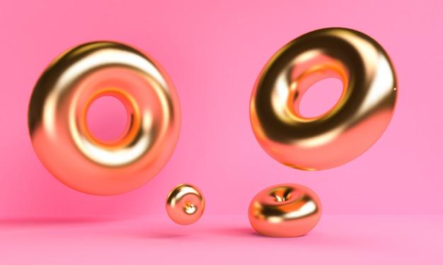 Or abstrait abstrait minimaliste, figures géométriques primitives, couleurs pastel, rendu 3d.