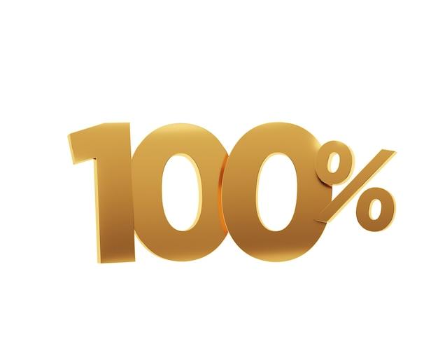 Or cent pour cent sur fond blanc. illustration de rendu 3d.