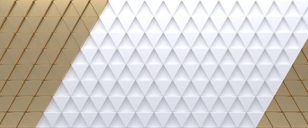 Or sur fond abstrait triangulaire carrelé blanc. surface de triangles extrudés. rendu 3d.