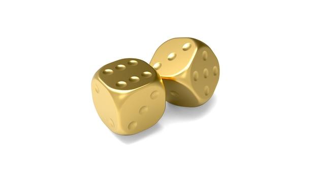 Dés d'or sur fond blanc