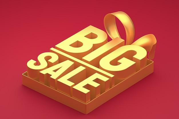 Or grande vente rendu de conception 3d pour la promotion de la vente avec arc et ruban sur fond isolé rouge