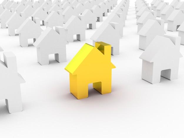 Or de la maison parmi les maisons blanches, rendu 3d