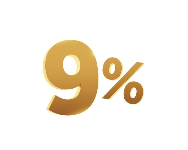 Or neuf pour cent sur fond blanc. rendu 3d.