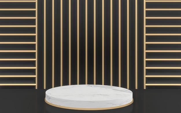 Or et noir maquette fond noir et or moderne et podium de cercle blanc.