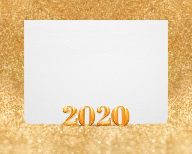 Or nouvel an 2020 (rendu 3d) avec carte de voeux blanche vierge en paillettes scintillantes golend