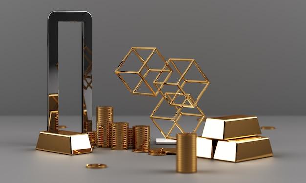 Or et pièces avec monnaie d'argent et texture en marbre rendu 3d géométrique