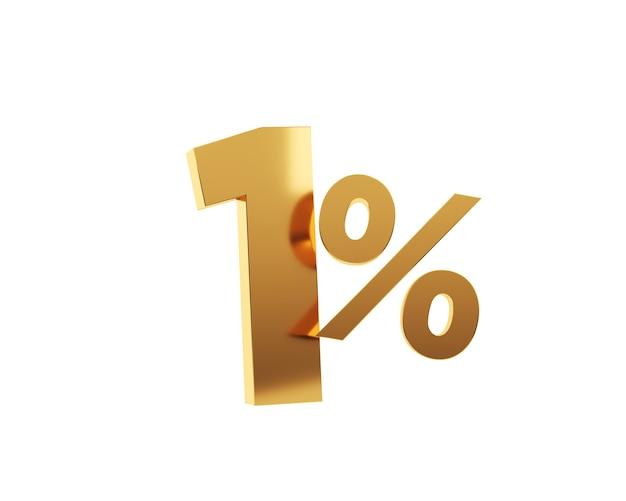 Or un pour cent sur fond blanc. illustration de rendu 3d.