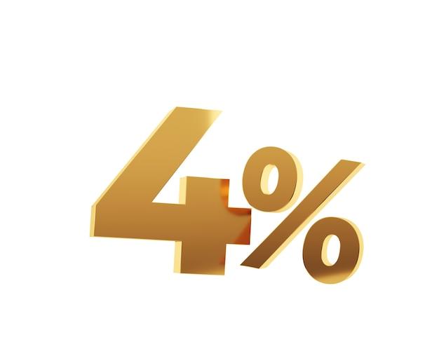 Or quatre pour cent sur fond blanc. rendu 3d.