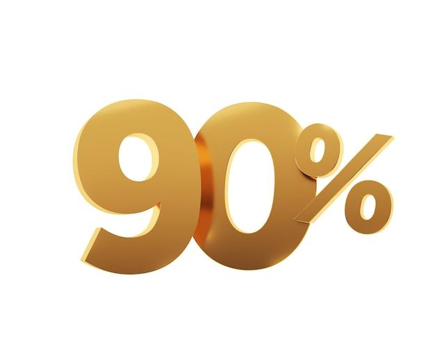 Or quatre-vingt-dix pour cent sur fond blanc. illustration de rendu 3d.
