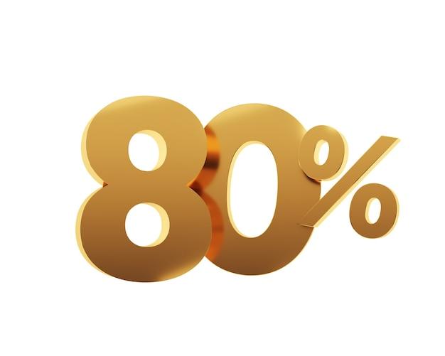 Or quatre-vingts pour cent sur fond blanc. illustration de rendu 3d.